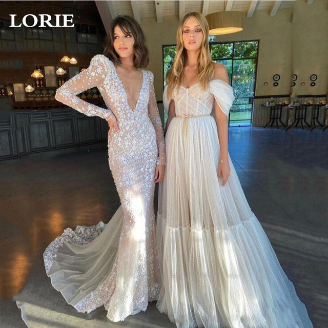 LORIE Boho Off the Shoulder Dot Tulle Floor Length Wedding Dress With Sleeves Elegant Tea Length Bride Gown For Party Reception 1