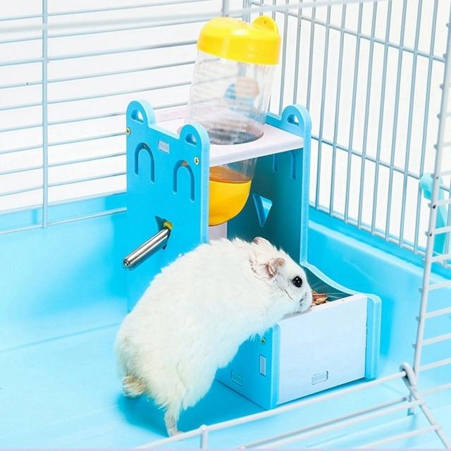 Small Pet Water Bottle Holder Hamster Rabbit Food Feeder Dispenser Nest Toy Drinking Water Distributor For Hamster Rabbit
