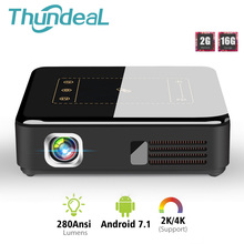Thundeal Android 7.1 Dlp Projector T20 Pico 3D Led T5 Projector Wifi Bluetooth Mini Ondersteuning 4K Beamer Batterij Thuis theater