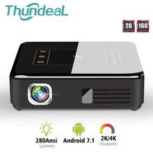 Thundeal android 7.1 dlp projetor t20 pico 3d led t5 projetor wifi bluetooth mini suporte 4k beamer bateria de teatro em casa