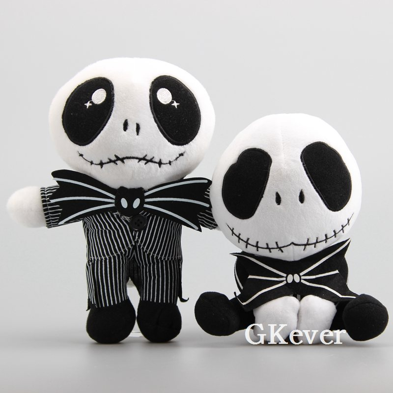 2pcs The Nightmare Before Christmas Zombie JACK Plush Toy doll <font><b>peluche</b></font> 20cm and 25cm Cute Skull Jake Soft Stuffed Halloween Toy image