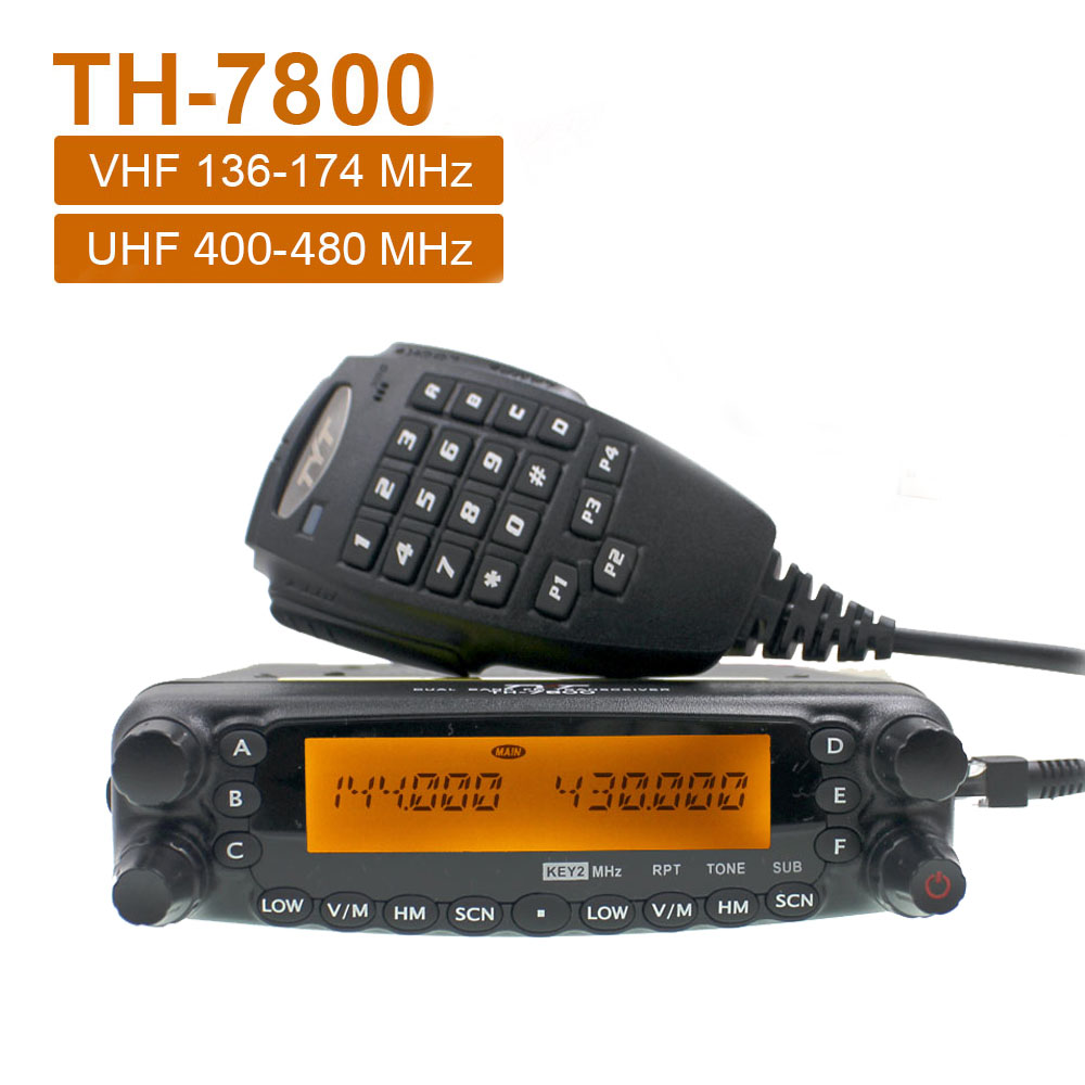 TYT TH-7800 Mobile Radio High Power Detachable Front Panel Dual Band Auto Transceiver Latest Version 136-174&400-480MHz 50W VHF