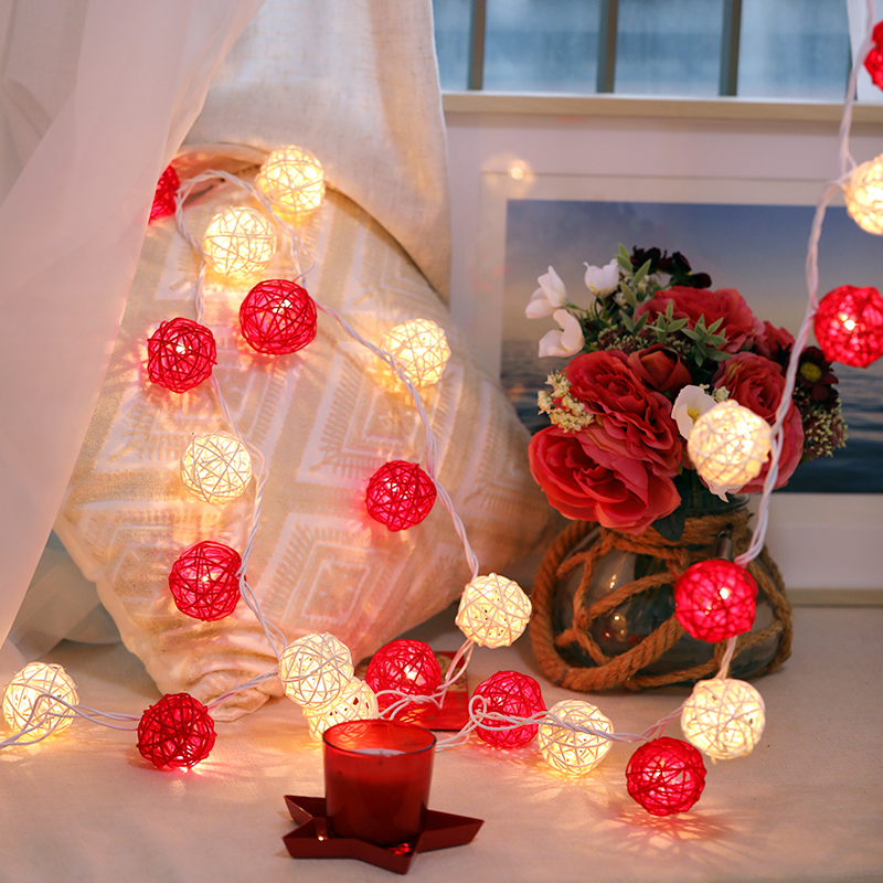 Navidad Hada decorativa luz LED cadena luces Bola de ratán guirnalda vacaciones boda Diwali iluminación al aire libre Hanukka Año Nuevo