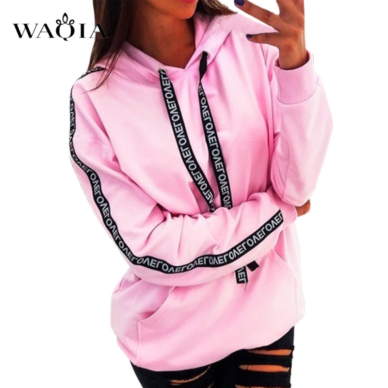 2019 Women Autumn Sweatshirt Women Long Sleeve Solid Hooded Pullover Tops Blouse Letter Print Hoodies Women Plus Size Clothes