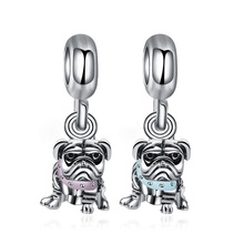 JrSr new 100% 925 sterling silver beads Pink/Blue Lovely Dog Pendant Charms Fit Pandora Bracelet woman DIY jewelry Free shipping 100% 925 silver sterling bracelet for woman with heart chain ice charms fashion bills free shipping