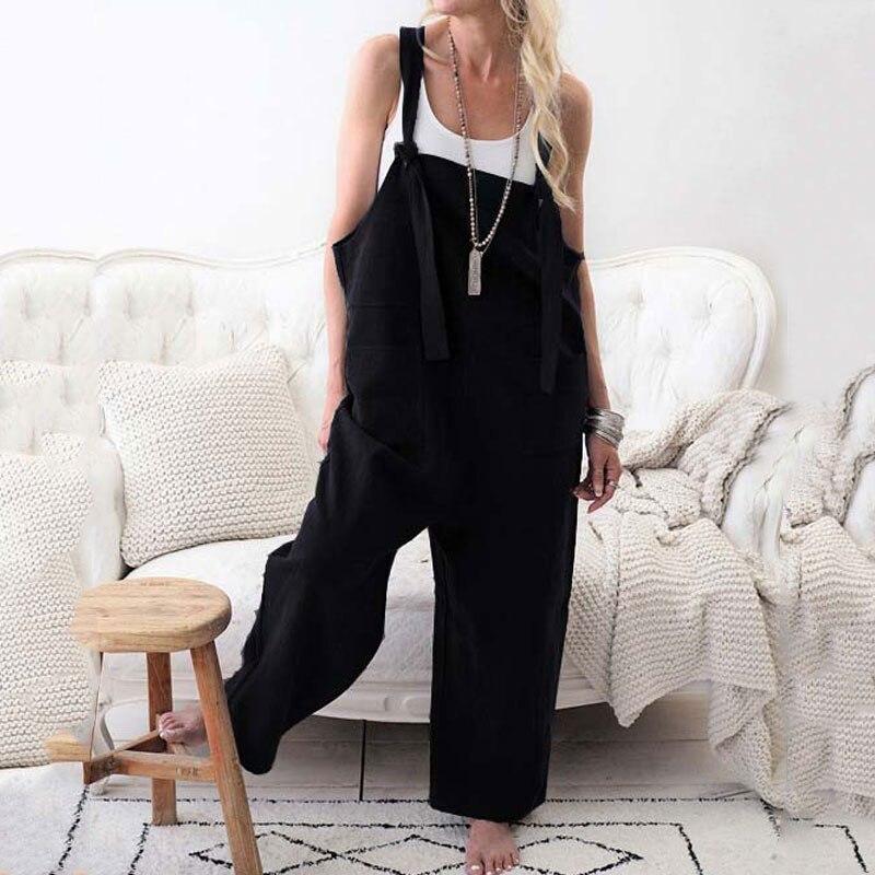 2020 Summer Linen Jumpsuit Women Overalls Elegant Wide Leg Jumpsuit Female Casual Cotton Long Jumpsuit Ladies Romper Black Pink