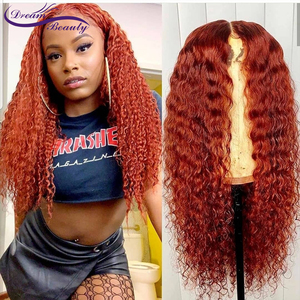 Image 3 - Ginger Orange Color Curly Lace Front Human Hair Wigs Baby Hair 13x6 Deep Part Red Brazilian Remy Hair Lace Wigs Dream Beauty
