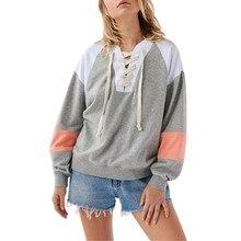 Women Autumn  Casual Patchwork Sweatshirt Warm Outerwear Coat Cute Sweatshirts Long Sleeve Plus Pullover