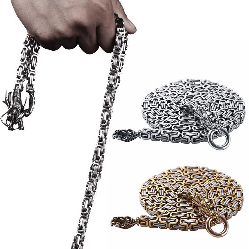 101cm Stainless Steel Tactical Dragon Bracelet Whip Corrosion Resistance Self Defense Protection Waist Hanging Necklace