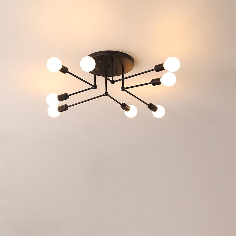 Vintage Ceiling Lights Multiple E27 Lamp Base  6/8 Heads Black/White For Living Room / Dining Room / Bedroom LED Ceiling Lamp