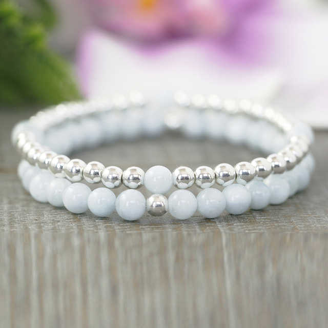 MG0949 6 mm Aqua marine Silver Plated Beaded Bracelet Set Dainty Yoga Bracelet For Women Anxiety Relief Boho Bracelet