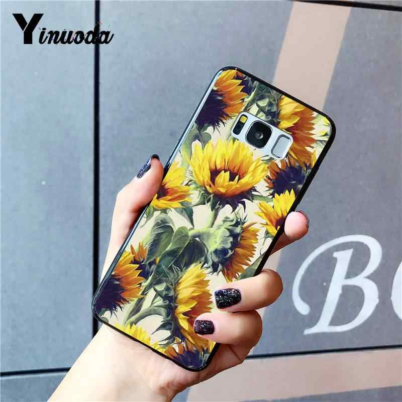 Yinuoda sevimli yaz papatya ayçiçeği çiçek çiçek yenilik Fundas telefon kılıfı kapak için Samsung GALAXY S9 artı S3 S6 7 8 9 S10 E S9