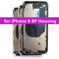 Pièces de rechange pour iPhone 8 8 Plus boîtier arrière cadre central et couvercle en verre arrière avec petites pièces et CE + texte