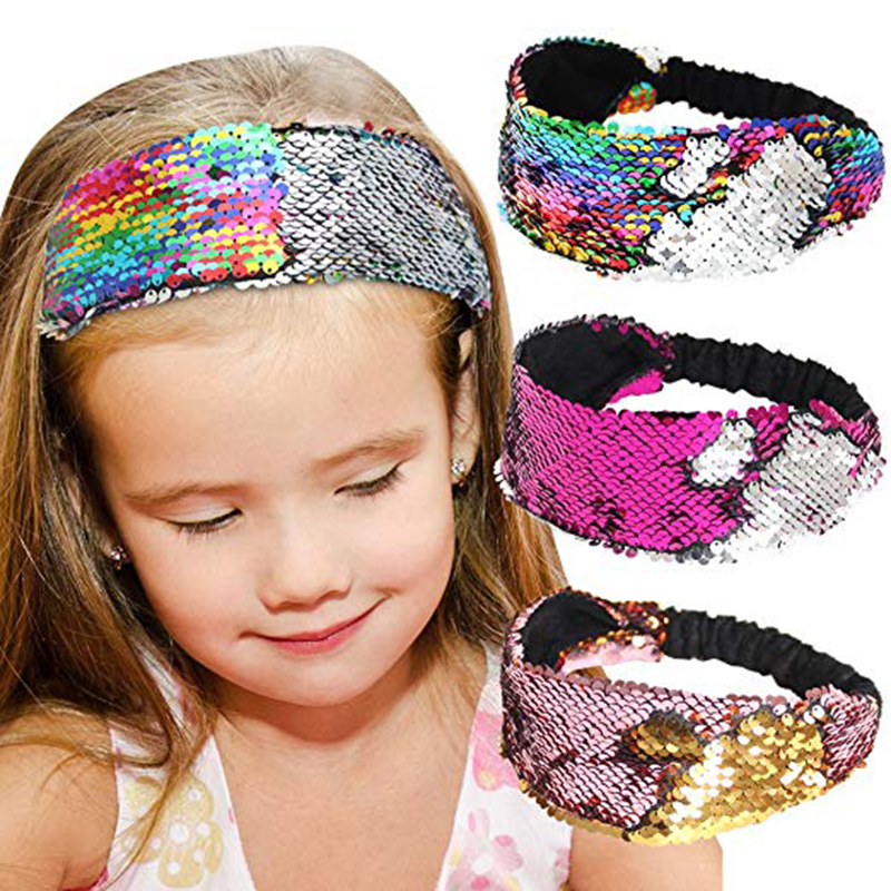 Sequins Mermaid Headband Glitter Sequins Sport Headbands For Girls Non Slip Sparkly Hairband Hair Style Accessories
