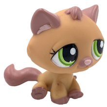 LPS CAT Rare animal pet shop toys STANDARD orange cat #1710 with green eyes cute anime toys for kids