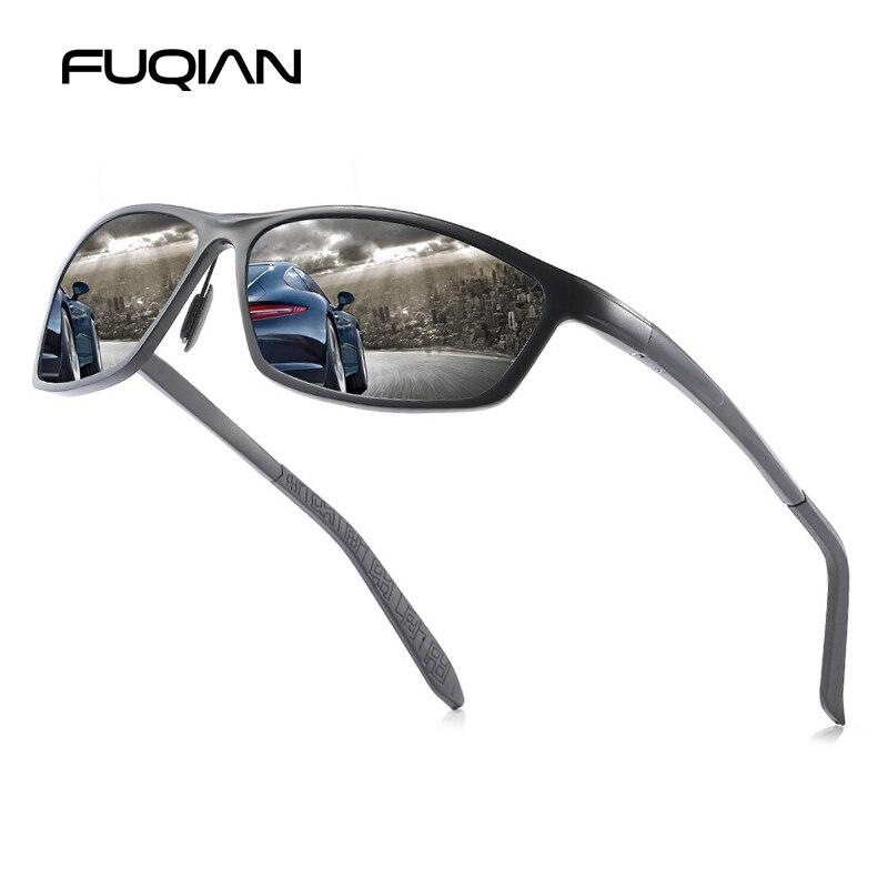 FUQIAN 2019 Sports Sunglasses Polarized Vintage Aluminum Magnesium Sun Glasses Men Outdoor Goggle