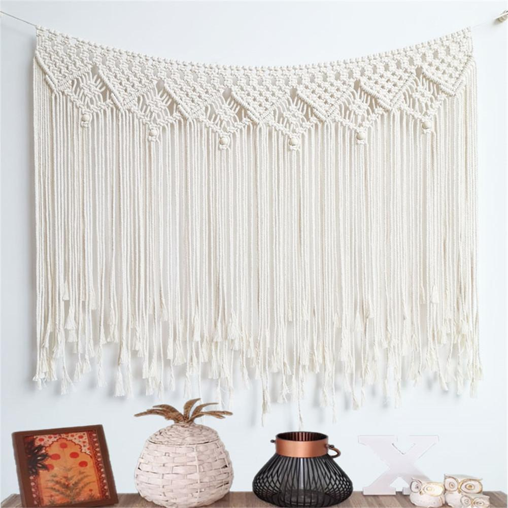 Nordic Hand-woven Tapestry Macrame Curtain Bohemian Boho Backdrop Decoration Wall Hanging Blanket For Home Wedding 100*80CM