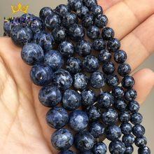 Perles rondes en pierre de jaspe naturelle, bleu foncé, amples, pour la fabrication de bijoux, collier, 15 ''4/6/8/10/12mm