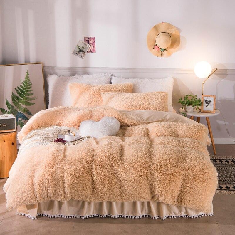 Сплошной цвет роскошный плюш лохматый Комплект постельного белья теплый мягкий двойной королева король размер пододеяльник набор помпоны