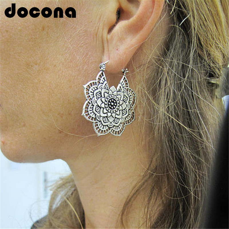 docona Vintage Mandala Flower Drop Dangle Earring for Women Girl Tribal Hollow Floral Pendant Earrings Pendientes 5123