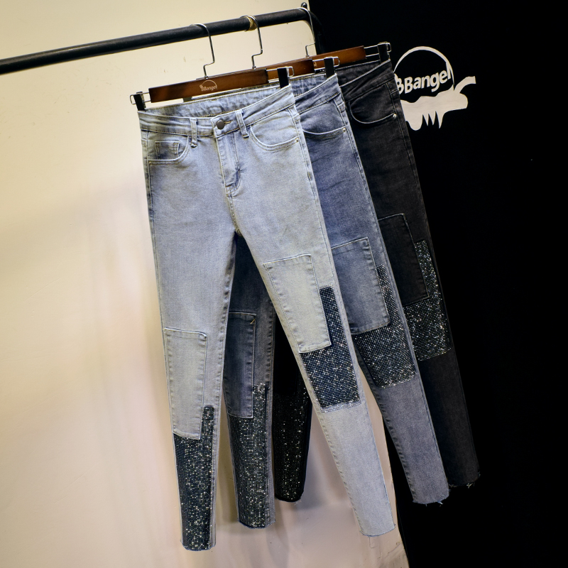 Fashion Hot Drilling Jeans Women's Elasticity Slimming Skinny Pencil Pants INS Cool Contrast Color Skinny Pants Ladies Jean