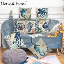 Ocean Animal Style Cushion Cover Turtle Printed Throw Pillow Cover Linen Cotton Home Decor Octopus Pattern Square Pillowcase ocean style oblique striped anchor pattern square shape flax pillowcase without pillow inner