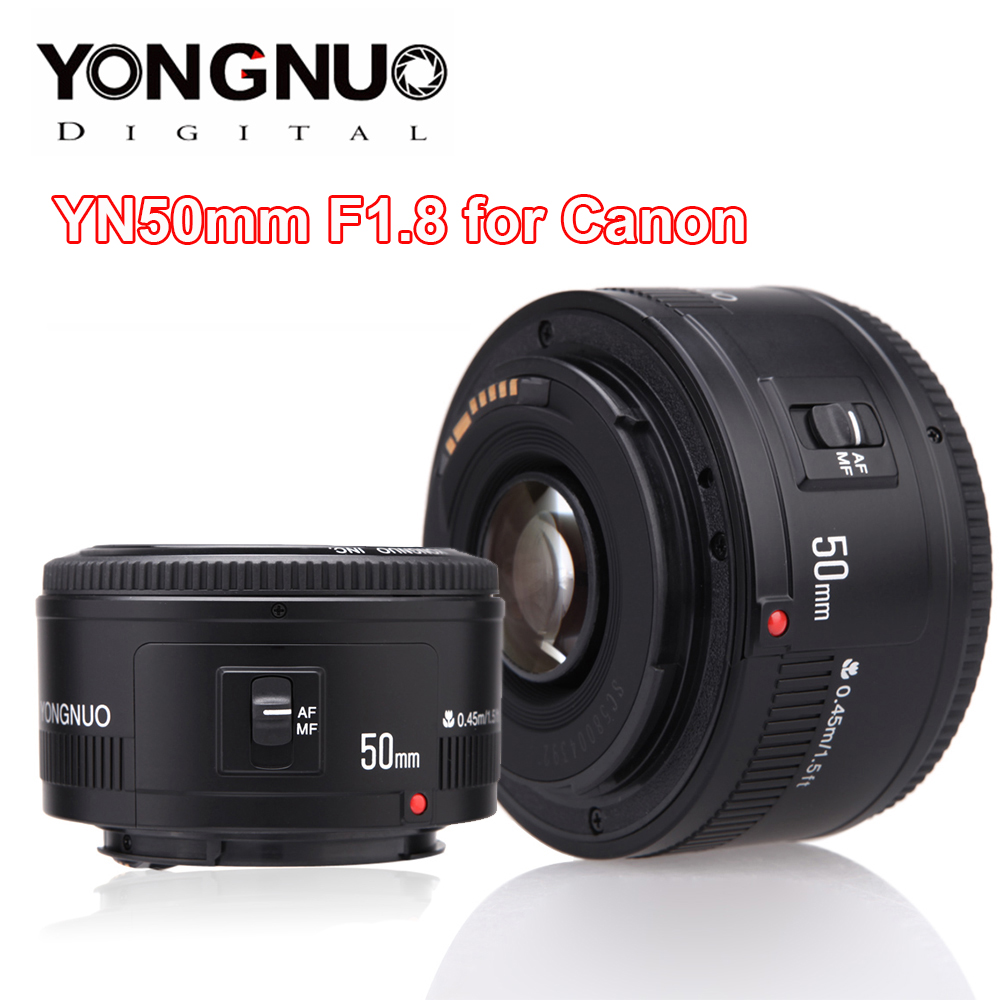 YONGNUO lente YN50mm F1.8 YN EF 50mm f/1,8 AF lente YN50 apertura Auto enfoque lente para Canon EOS 60D 70D 5D2 5D3 600d DSLR cámaras