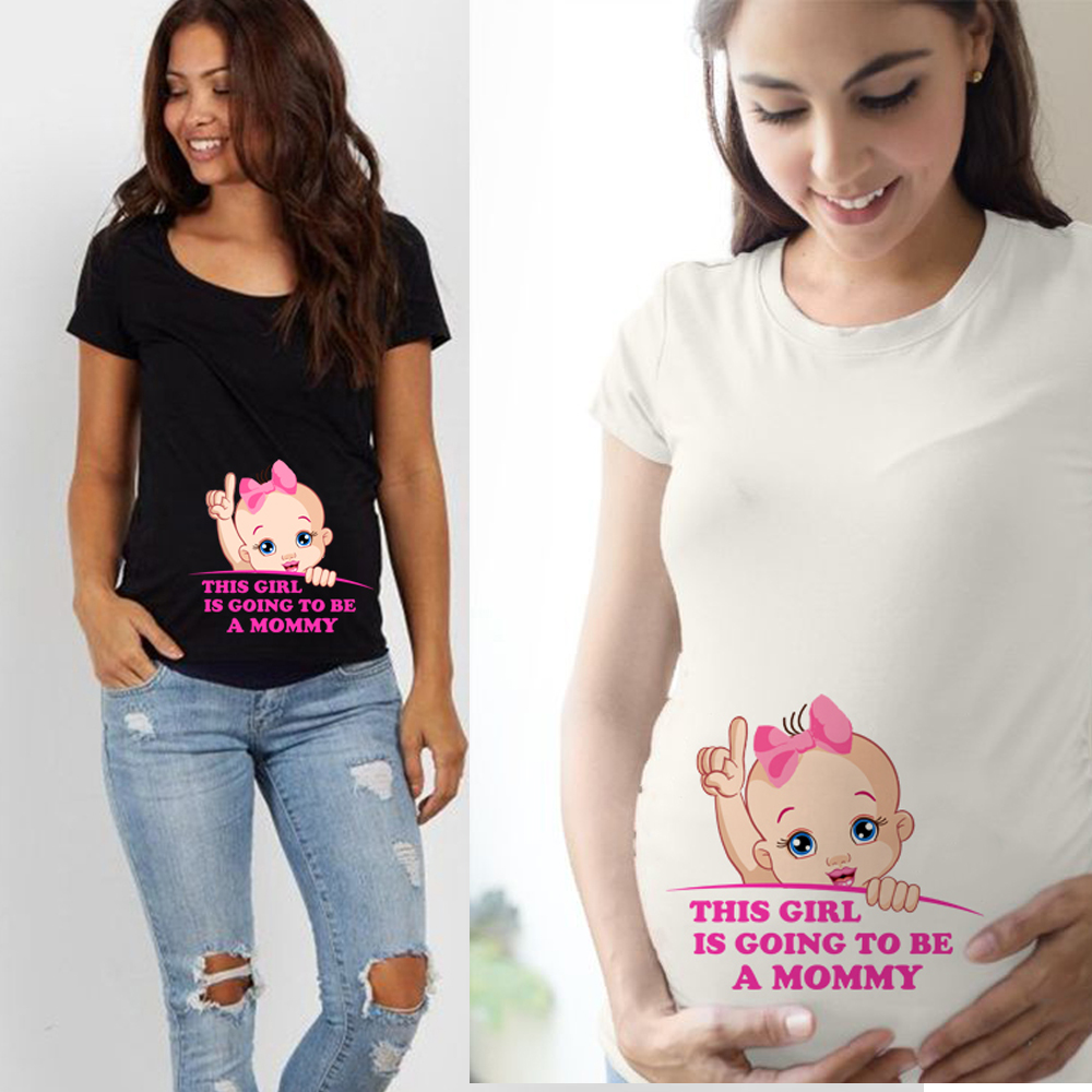 This Girl Is Going To Be A Mom Summer Maternity Pregnancy T Shirt Women Tee Letter Print Pregnant Clothes Funny T-shirt