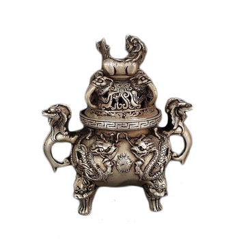 LAOJUNLU Archaize Bronze Pixiu Shuanglong Incense Burner Brass Silver Plated Incense Burner Decoration
