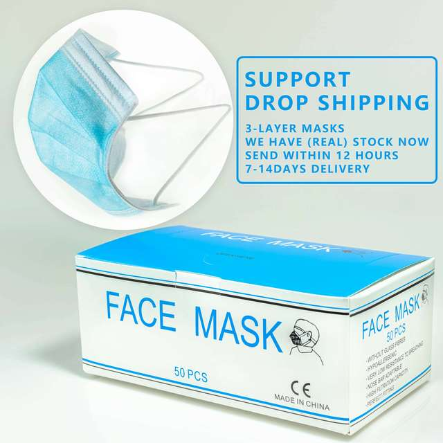 50pcs CE Certification 3-Layer Non-woven Disposable mask  Soft Breathable Flu Hygiene Face PPF3 Blue Dust Mask