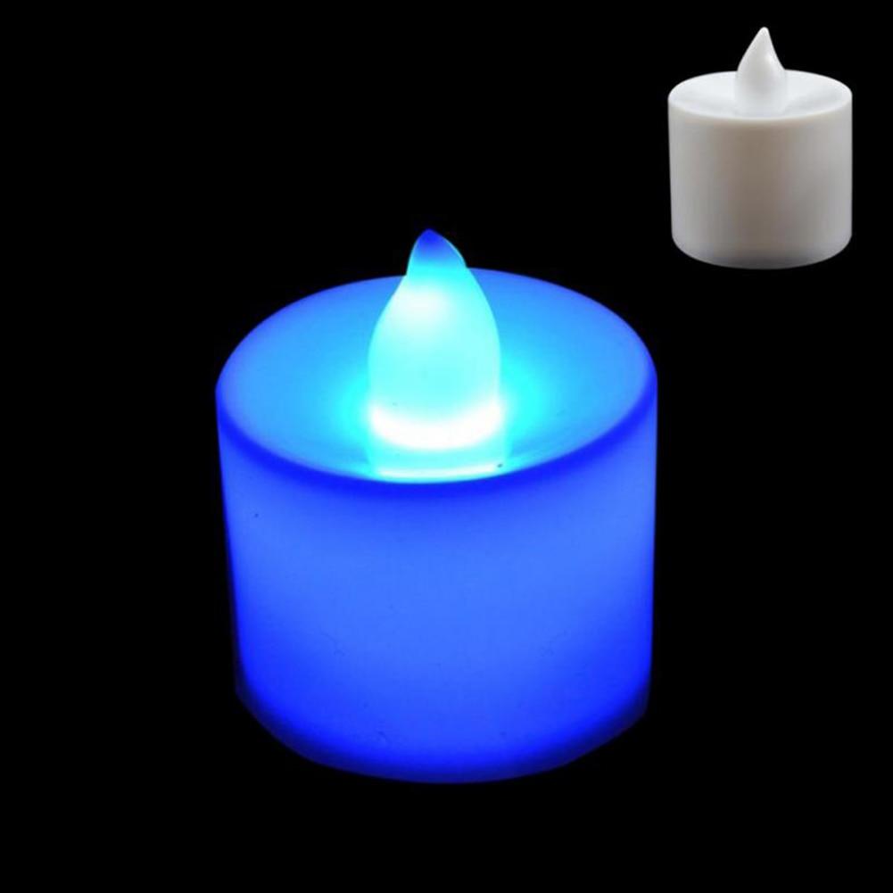 1 шт. Креативный светодиодный многоцветная Лампа-свеча имитация цвета пламени для дома, свадьбы, дня рождения, фестивальные декорации - Цвет: Синий