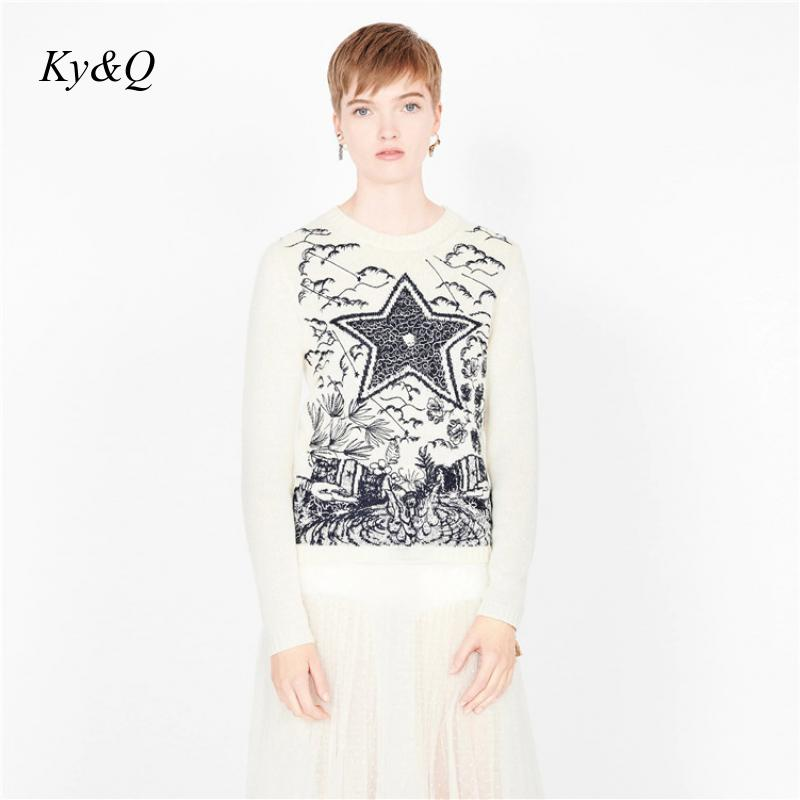 Brand Designer Women Christmas 2020 Winter Luxury Beige Pentagram Embroidery Pullover Loose Lazy Vintage Top Sweater Clothes New