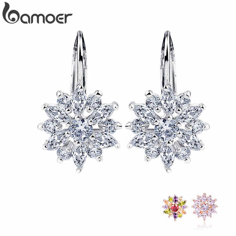 BAMOER Real  Silver Color Stud Earrings Collection with Flower Shape Multicolor/Silver AAA Zircon For Women Jewelry JIE041