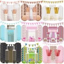 Decorazione per feste di compleanno stoviglie usa e getta stoviglie di carta piatto tovagliolo tazza Banner Kit per matrimonio Baby Shower forniture per feste