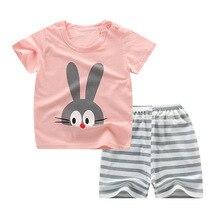 Kids Pajamas Sets Girls Rabbit Pattern Night Suit Children C