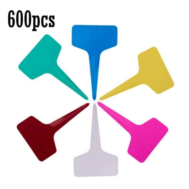 600 Pcs 5 x 7cm Plastic Plant Labels T-Type Tags Markers Nursery Garden Labels,6 Colors (7, 5)