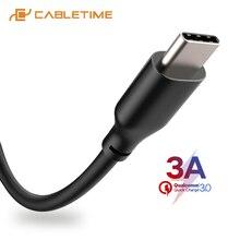 Cabletime tipo c 3a cabo de transmissão dados usb cabo de carregamento rápido para o telefone móvel lg huawei xiaomi nokia usb carregamento c276