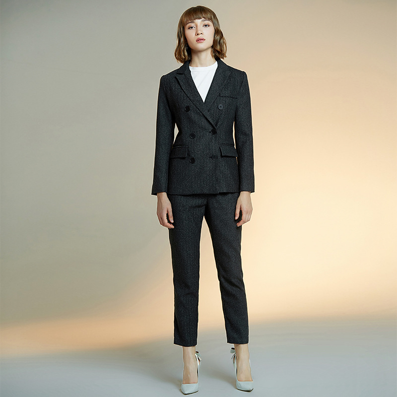 24.1 2,125,,Women`s suit black slim striped suit women`s suit 2-piece double-breasted jacket with trousers suit business casual formal suit