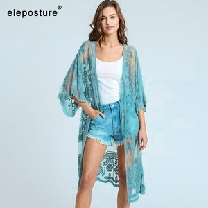 Image 5 - 2020 Sexy Lace Embroidery Beach Cover Up Women Bikini Cover Up Long Beach Dress Tunics Swimsuit Bathing Suits Cover Up Beachwear