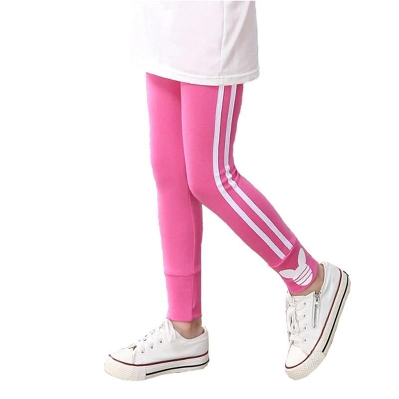 Spring autumn cotton girls leggings  vertical stripe toddler kids sport pants 3-12Years 1