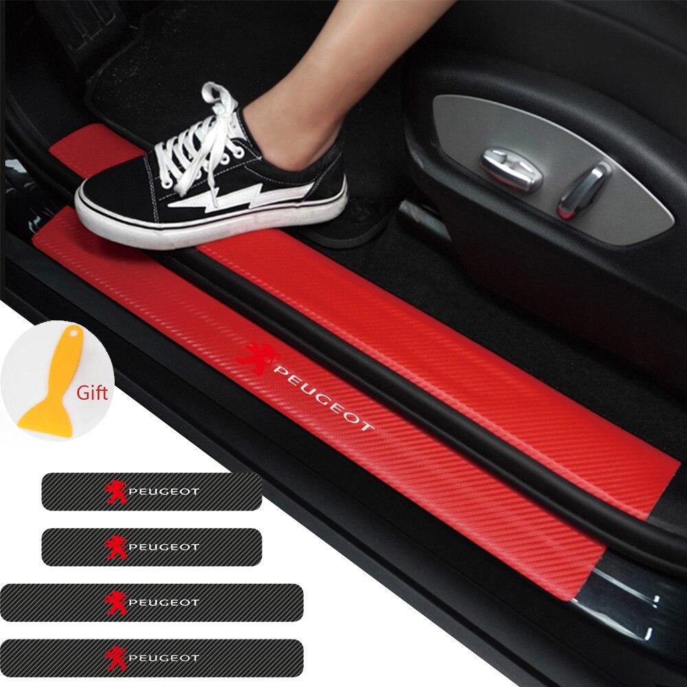 4 Stuks Auto Deur Drempel Carbon Protector Instaplijsten Guards Stickers Voor Peugeot 107 207 307 407 308 607 508 3008 Accessoires