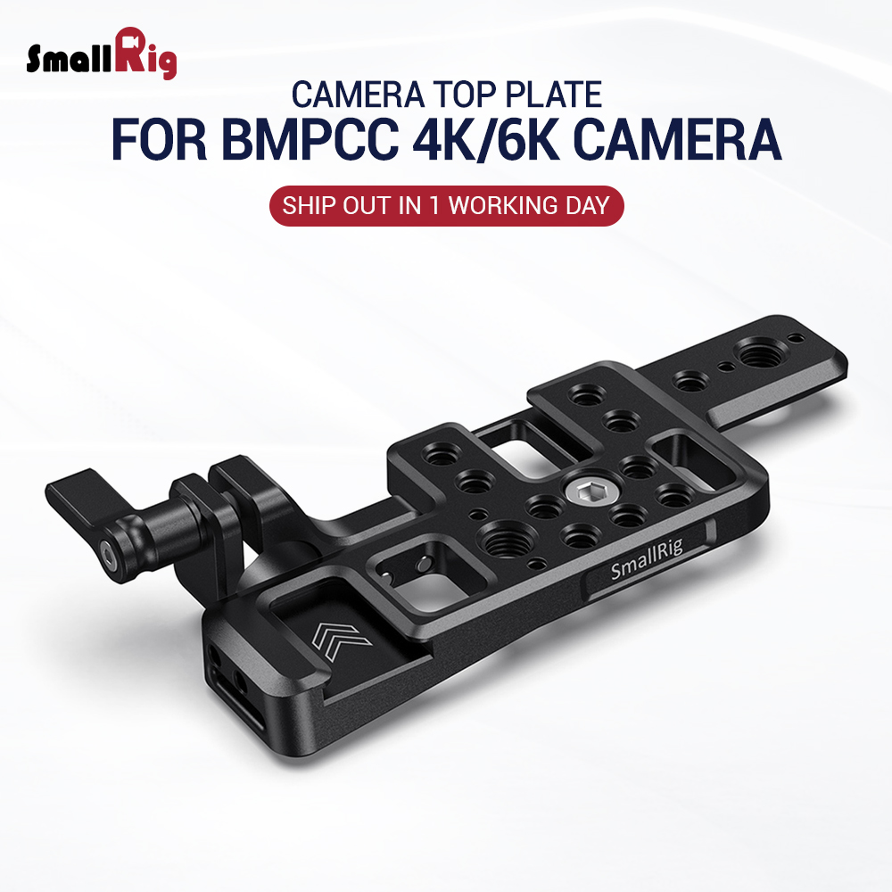 SmallRig Lightweight Top Plate For BMPCC 4K & 6K Camera W/ 2 Cold Shoe Mount Nato Rail For Monitor Microphone DIY Options 2510