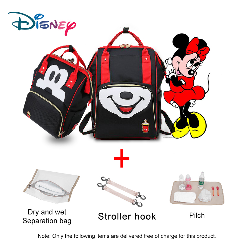 Disney Cute Mickey Minnie Multifunction Backpack Baby Diaper Bags Mummy Mochila Maternal Usb Backpack Women Diaper Bag  For Mom