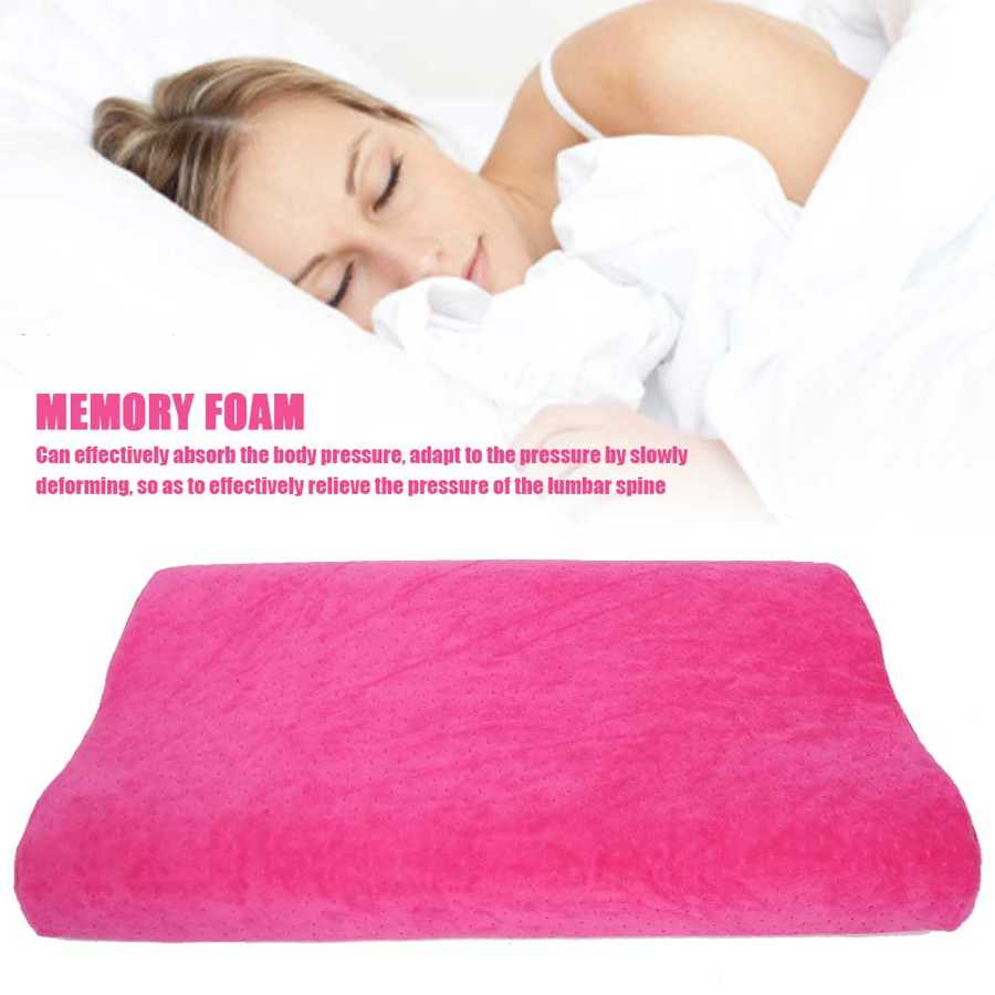 Cervical Spine Care Sleep Pillow Stress Relief Slow Rebound Memory Foam Pillow (Rose Red) Washable Massager Pillow Neck Care A