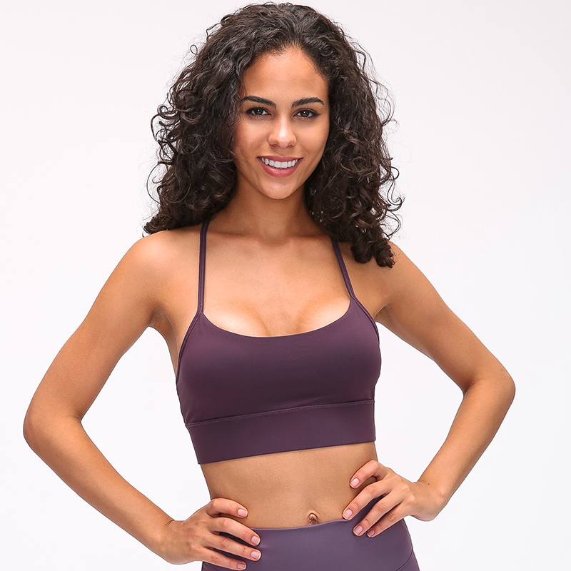 Image 2 - SHINBENE Y Type Lengthen Verison Padded Running Gym Workout Bras Women Naked feel Fabric Plain Sport Yoga Bras Fitness Crop TopsSports Bras   -