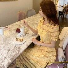 Высокое качество, желтое кружевное платье, летнее женское платье с коротким рукавом и О-образным вырезом, облегающее платье для танцев и вечеринок, длинное платье 5,0