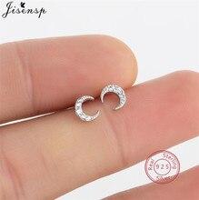 Delicate 925 Sterling Silver Star Moon Stud Earrings for Women Girls Korean Earings Accessories Sterling-Silver-Jewelry Piercing