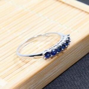 Image 3 - 100% الطبيعية الأزرق الداكن خاتم من الياقوت الأزرق للمرأة 7 قطعة 2.5 مللي متر SI الصف خاتم من الياقوت الأزرق الصلبة 925 الفضة خاتم من الياقوت الأزرق رومانسية هدية