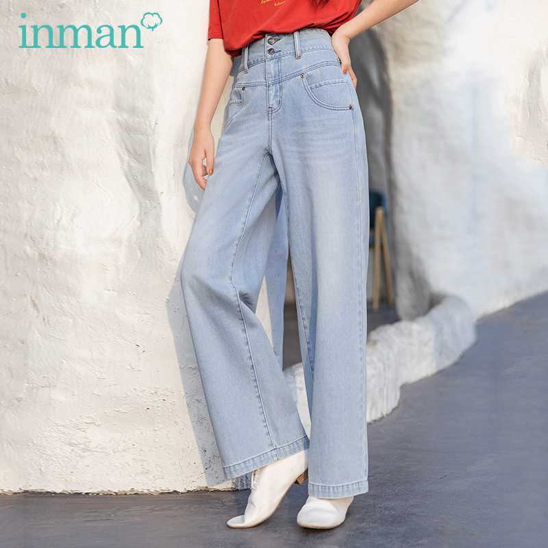 INMAN 2020 Summer New Arrival High Waist Button Vintage Street Straight Baffi Distressed Jeans