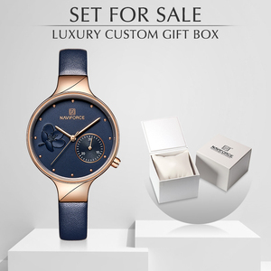 Image 1 - נשים שעוני יוקרה מותג NAVIFORCE קוורץ גבירותיי שעון שמלת שעון יד תאריך שעון עם תיבת סט למכירה Relogio Feminino